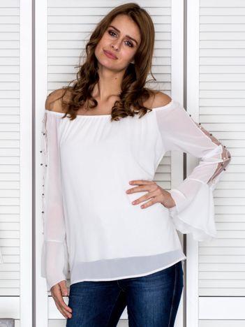 Bluzka hiszpanka z ozdobną aplikacją na rękawach biała