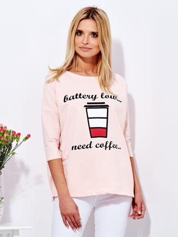 Bluzka jasnoróżowa z kawą