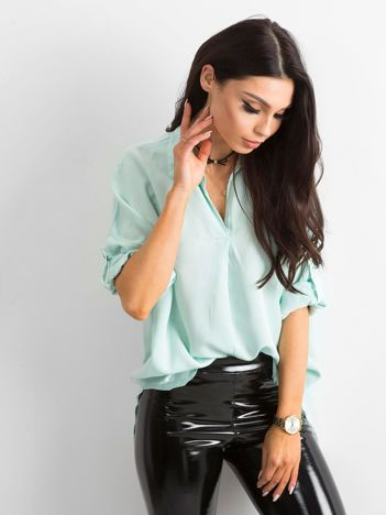 Bluzka koszulowa miętowa