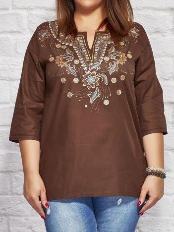 Bluzka koszulowa oversize w folkowe wzory brązowa