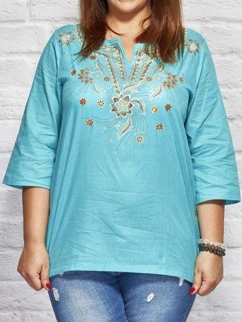 Bluzka koszulowa oversize w folkowe wzory turkusowa