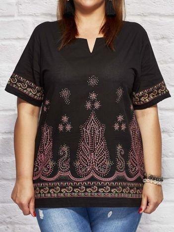 Bluzka koszulowa oversize z motywami etnicznymi czarna
