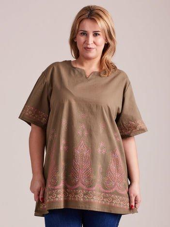 Bluzka koszulowa oversize z motywami etnicznymi khaki
