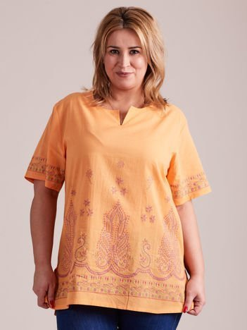 Bluzka koszulowa oversize z motywami etnicznymi pomarańczowa