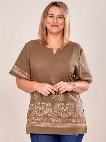 Bluzka koszulowa oversize z motywem paisley khaki PLUS SIZE