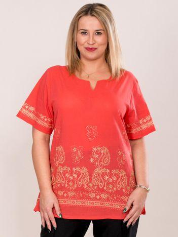 Bluzka koszulowa oversize z motywem paisley koralowa PLUS SIZE