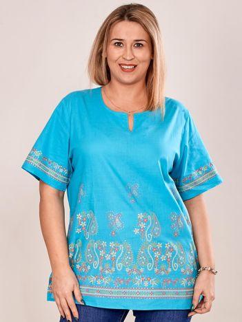 Bluzka koszulowa oversize z motywem paisley turkusowa