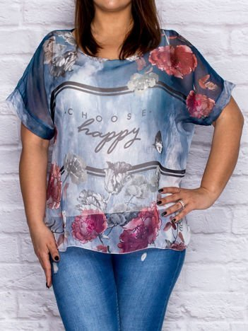 Bluzka koszulowa z napisem CHOOSE HAPPY ciemnoniebieska PLUS SIZE