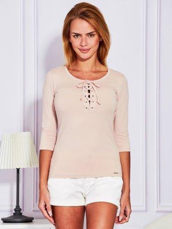 Bluzka lace up jasnobeżowa