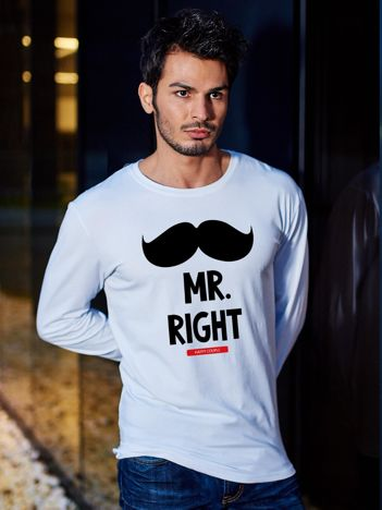 Bluzka męska biała hipster dla par MISTER RIGHT wąsy