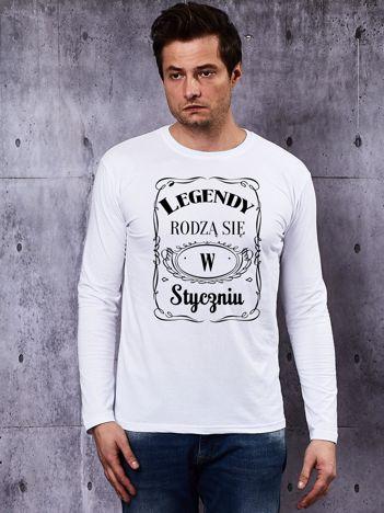 Bluzka męska biała z długim rękawem LEGENDY ZE STYCZNIA
