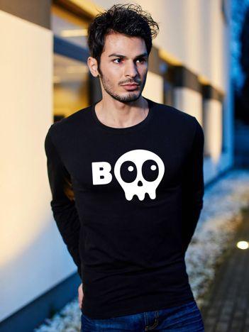Bluzka męska czarna BOO z nadrukiem Halloween