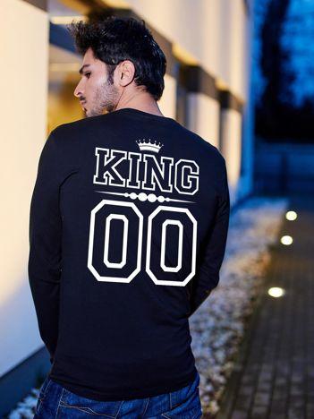 Bluzka męska czarna z nadrukiem dla par na plecach KING