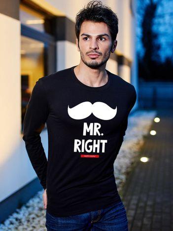 Bluzka męska czarna z wąsami MR. RIGHT dla par