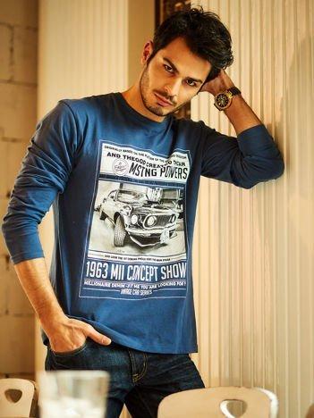 Bluzka męska z nadrukiem samochodu niebieska