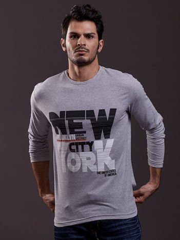 Bluzka męska z napisem NEW YORK CITY jasnoszara