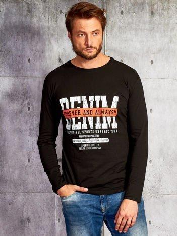 Bluzka męska z tekstowym nadrukiem czarna