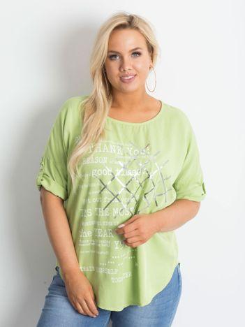 Bluzka plus size z nadrukiem jasnozielona