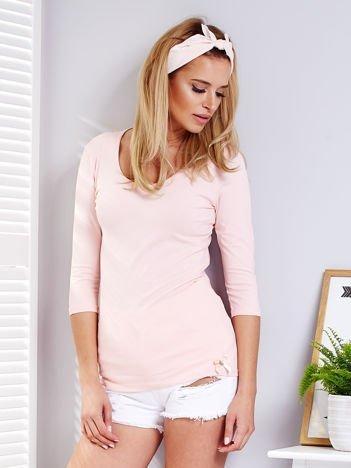 Bluzka różowa z rozcięciami z tyłu