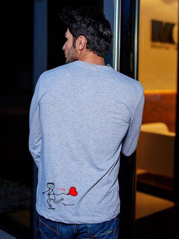 Bluzka szara męska I LOVE YOU z długim rękawem dla par