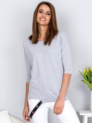 Bluzka szara z ozdobnym paskiem