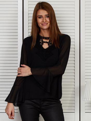 Bluzka szyfonowa z haftem czarna
