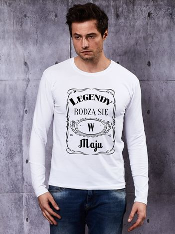Bluzka z długim rękawem męska LEGENDY Z MAJA biała