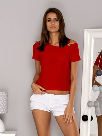 Bluzka z odpinanym paskiem czerwona