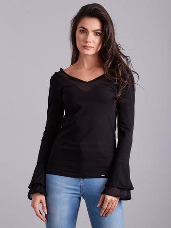 Bluzka z ozdobnymi rękawami czarna