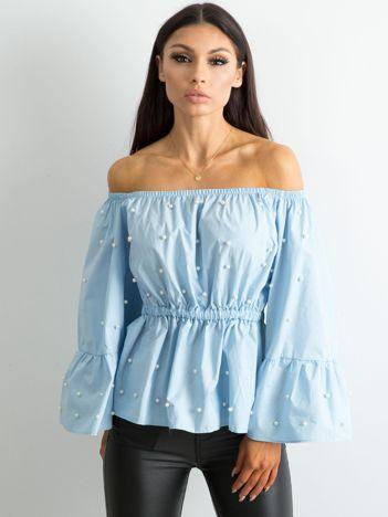 Bluzka z szerokimi rękawami niebieska
