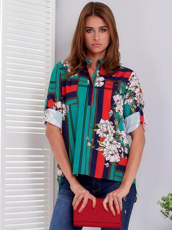Bluzka zielona w kratę i kolorowe kwiaty