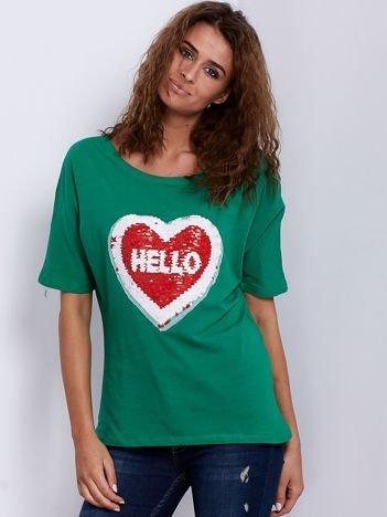 Bluzka zielona z dwustronną cekinową aplikacją