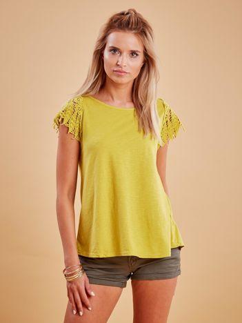 Bluzka żółta z koronkowymi rękawami