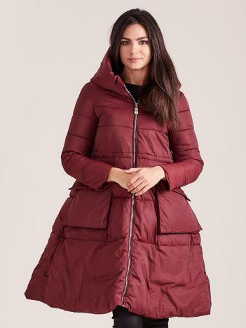 Bordowa asymetryczna kurtka zimowa