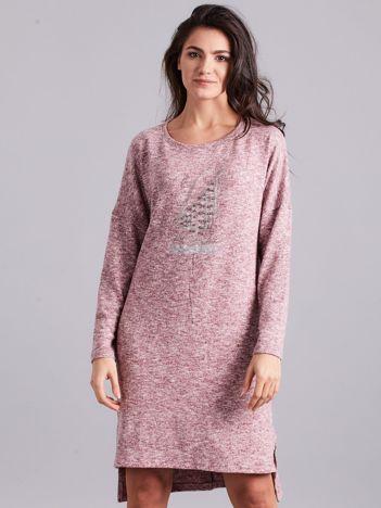 Bordowa asymetryczna sukienka z aplikacją