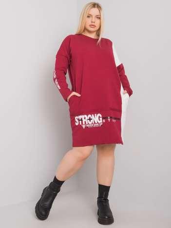 Bordowa bawełniana tunika plus size Eleasha