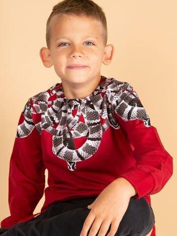 Bordowa bluza dla chłopca z nadrukiem