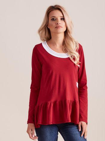 Bordowa bluzka z baskinką