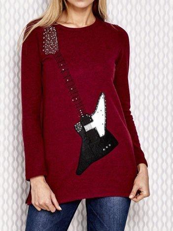Bordowa bluzka z motywem gitary