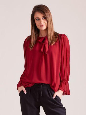 Bordowa bluzka z plisowanymi rękawami