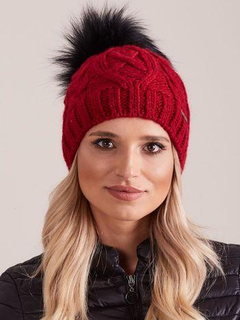 f5b2ca7488f64f Bordowa czapka zimowa damska