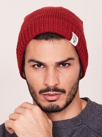 Bordowa czapka zimowa męska