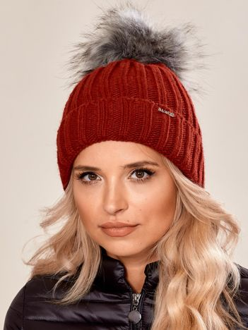 Bordowa damska czapka na zimę