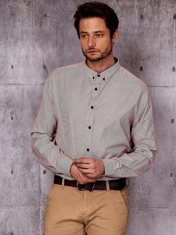 Bordowa koszula męska w prążek PLUS SIZE