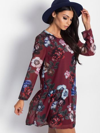 Bordowa kwiatowa sukienka