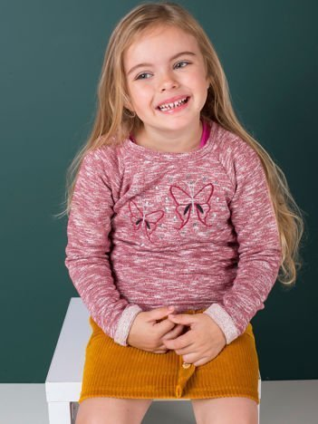 Bordowa melanżowa bluza dziewczęca z motylkami i cekinami