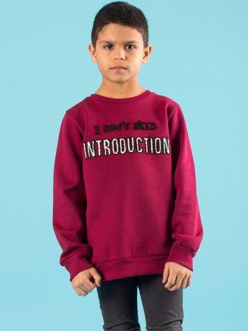 Bordowa ocieplana bluza dziecięca z napisem