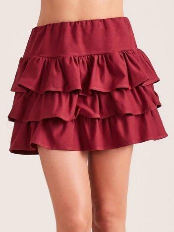 Bordowa spódnica mini z falbanami