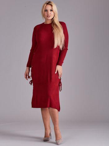 Bordowa sukienka dzianinowa PLUS SIZE