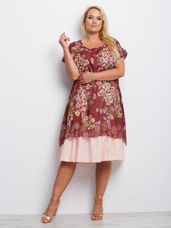 Bordowa sukienka plus size Anchor
